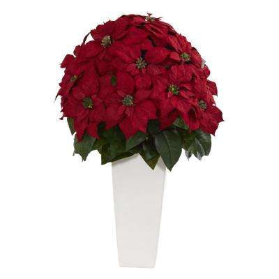 Indoor 32 in. Poinsettia Artificial Plant in White Planter