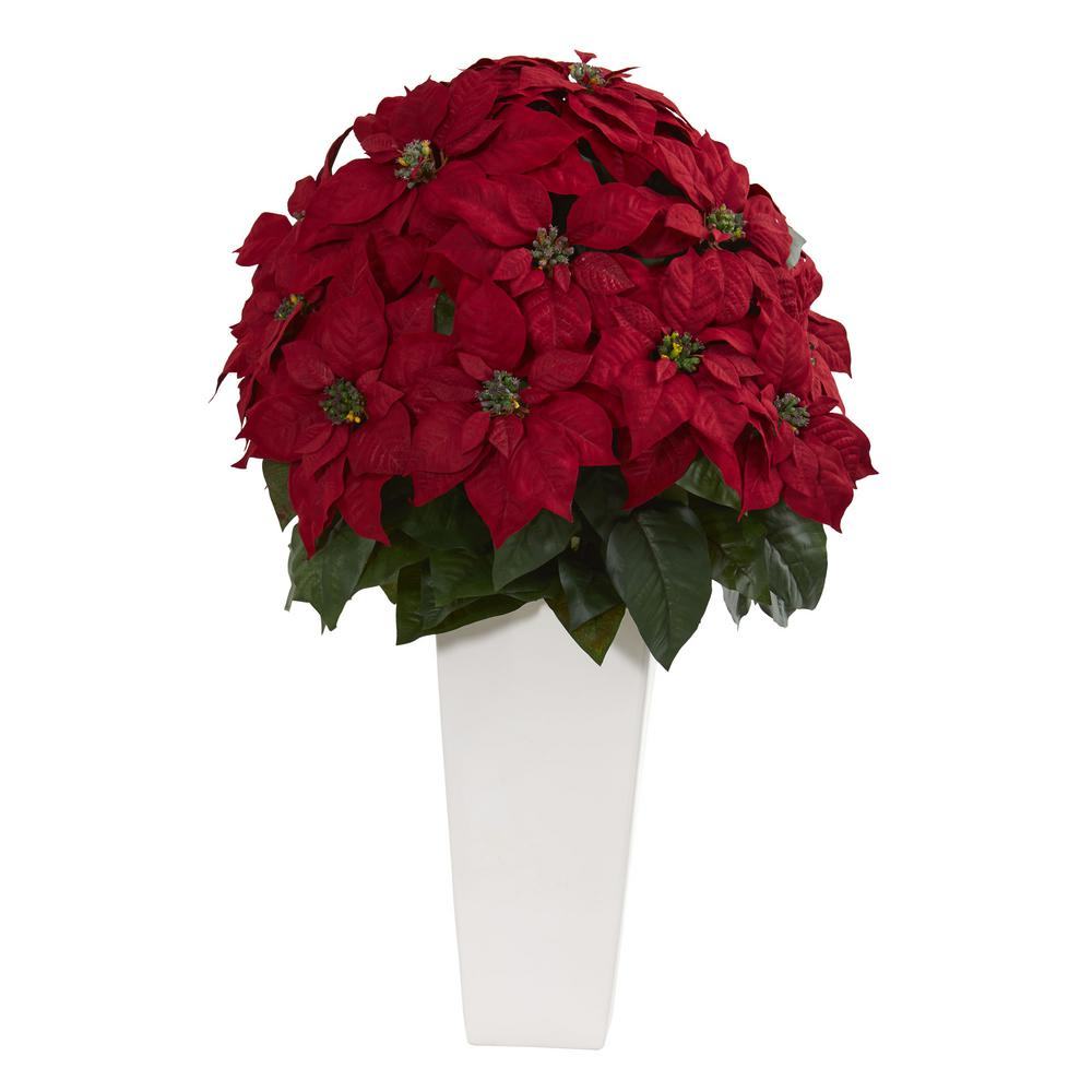 Nearly Natural Indoor 32 In Poinsettia Artificial Plant In White