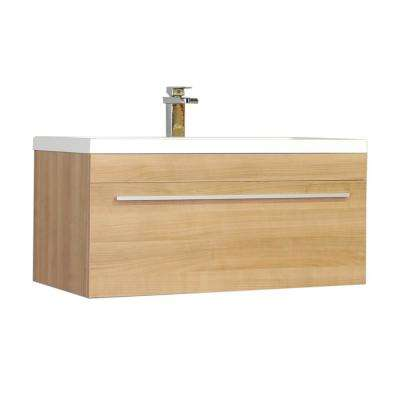 Ripley 35.25 in. W x 18.75 in. D x 17.5 in. H Vanity in Light Oak with Acrylic Vanity Top in White with White Basin