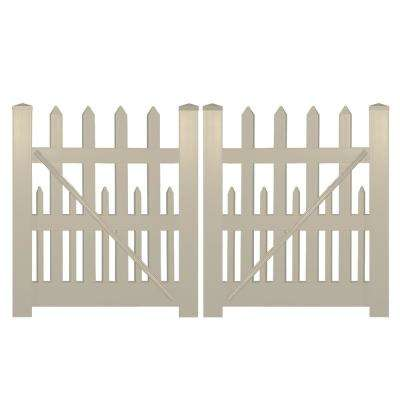 Ashville 8 ft. W x 5 ft. H Khaki Vinyl Picket Fence Double Gate