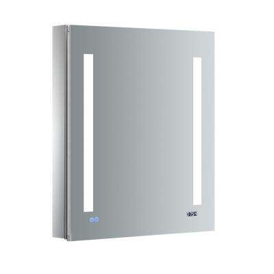 Tiempo 24 in. W x 30 in. H Recessed or Surface Mount Medicine Cabinet with LED Lighting, Mirror Defogger and Right Hinge