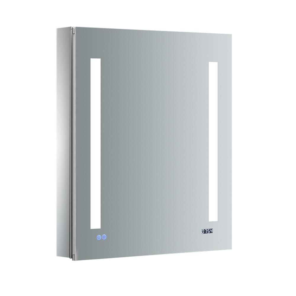 Fresca Tiempo 24 in. W x 30 in. H Recessed or Surface Mount Medicine Cabinet with LED Lighting, Mirror Defogger and Right Hinge
