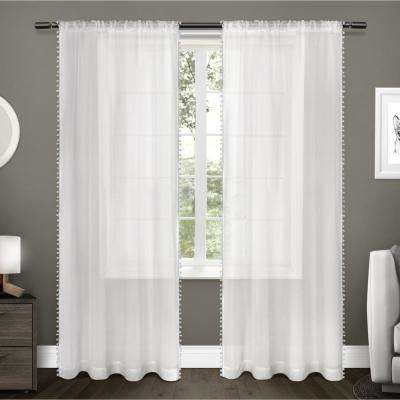 Pom Pom 54 in. W x 108 in. L Sheer Rod Pocket Top Curtain Panel in Winter White (2 Panels)