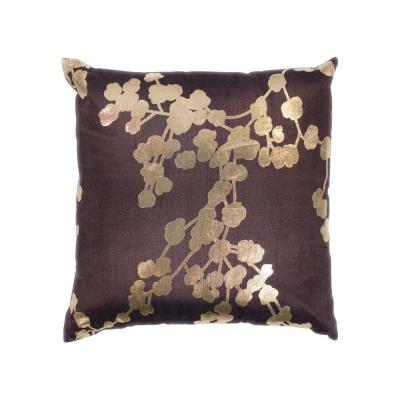 Foil Barcelona Chocolate Floral Hypoallergenic Polyester 18 in. x 18 in. Throw Pillow