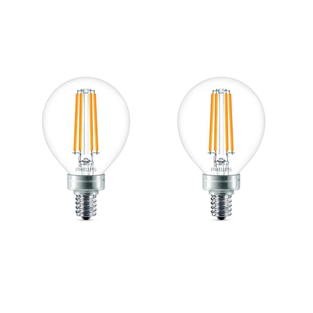 Philips 40-Watt Equivalent G16.5 LED Light Bulb Soft White Globe (2-Pack)