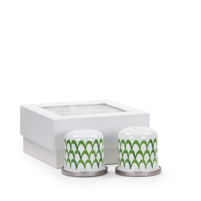 Green Scallops Enamelware Salt and Pepper Shakers (Set of 2)
