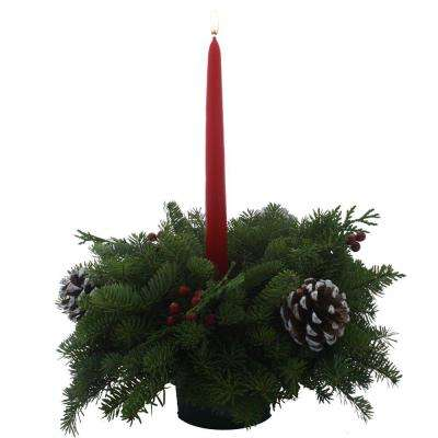 Balsam Fir Classic 1 Candle Small Fresh Centerpiece : Multiple Ship Weeks Available