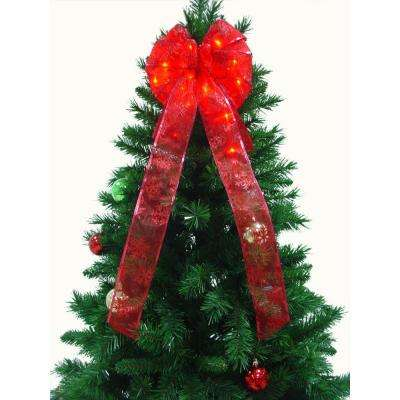 9 in. 36-Light LED Red Ribbon Bow