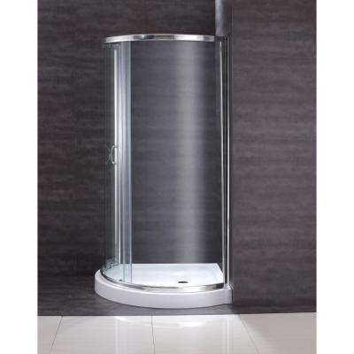 31 in. x 31 in. x 76 in. Shower Kit with Reversible Sliding Door and Shower Base