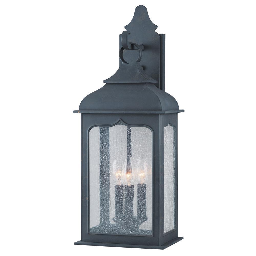 newest eebd5 6556e Troy Lighting Henry Street 3-Light Colonial Iron Outdoor Wall Lantern Sconce