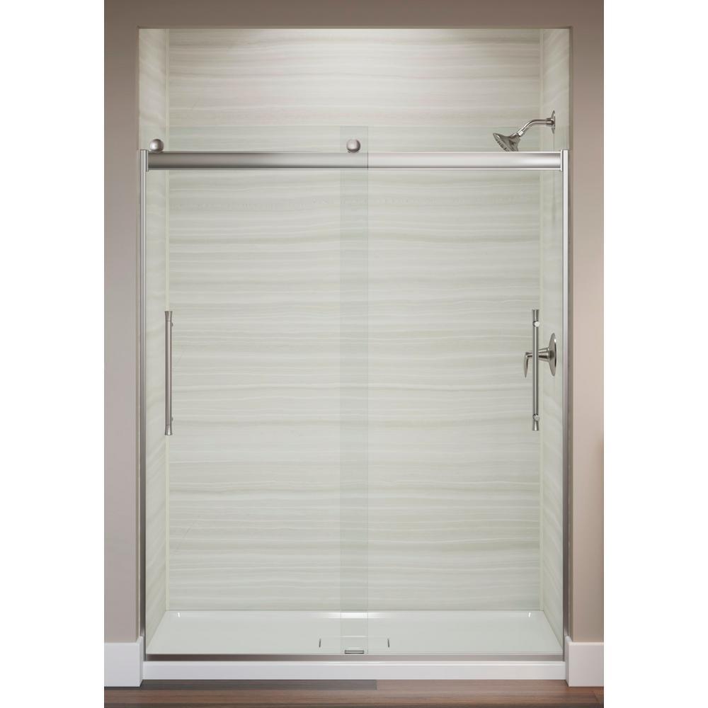 Elmbrook 59.625 in. x 73.4375 in. Frameless Sliding Shower Door in Anodized Brushed Nickel