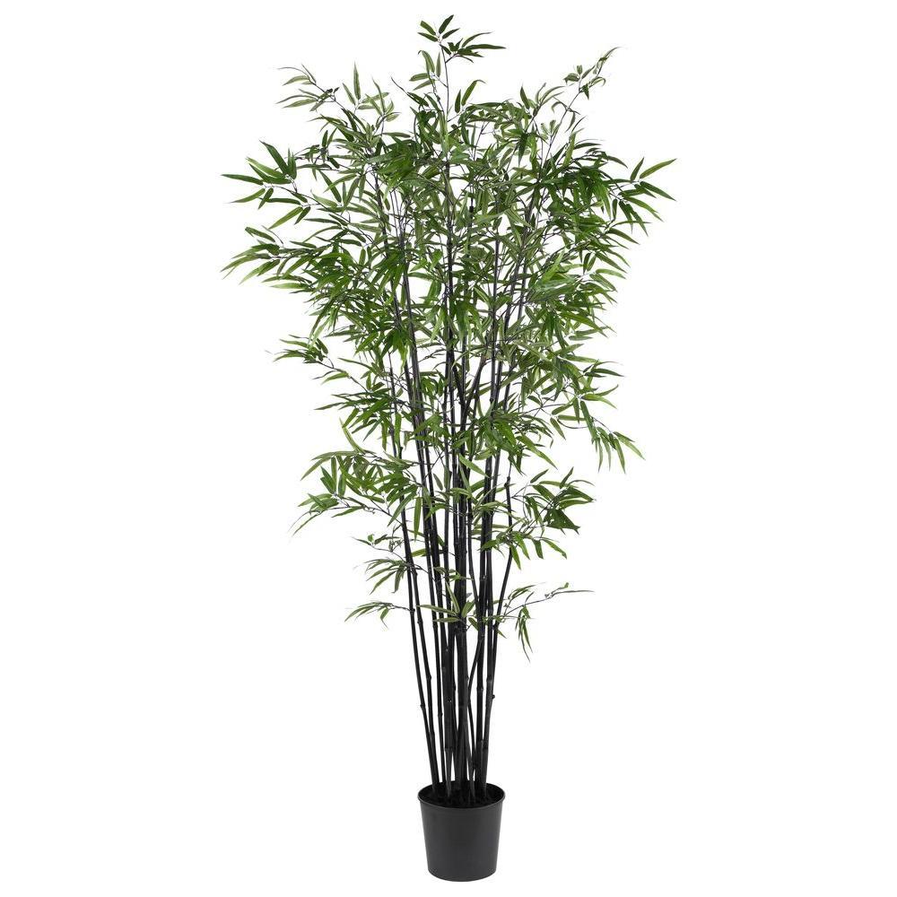 Nearly Natural 6.5 ft. Black Bamboo Silk Tree