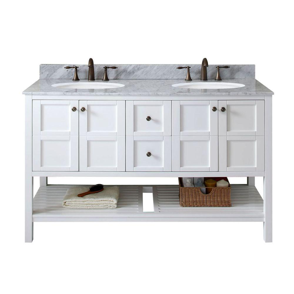 Virtu USA Winterfell 60 In. W X 22 In. D Vanity In White With Marble Vanity  Top In White With White Basin ED 30060 WMRO WH NM   The Home Depot