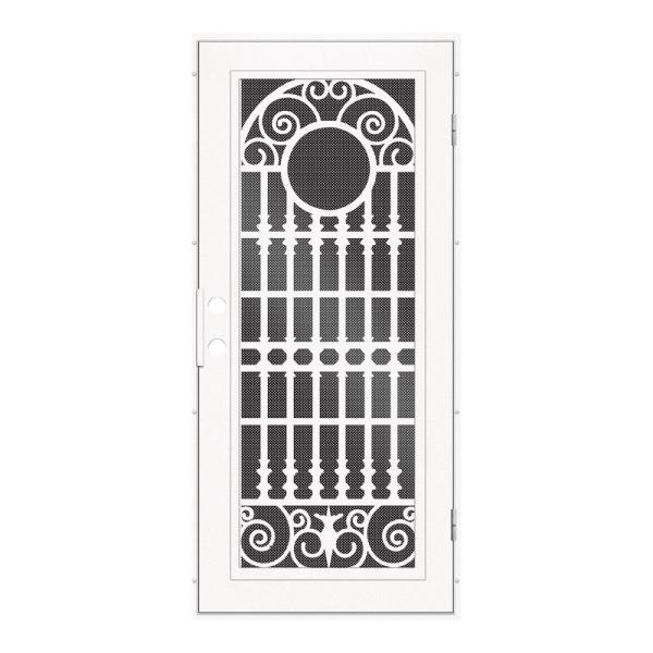 Unique Home Designs 30 In X 80 In Spaniard White Left Hand Surface Mount Aluminum Security Door With Black Perforated Metal Screen 1s2029cl1whp5a The Home Depot