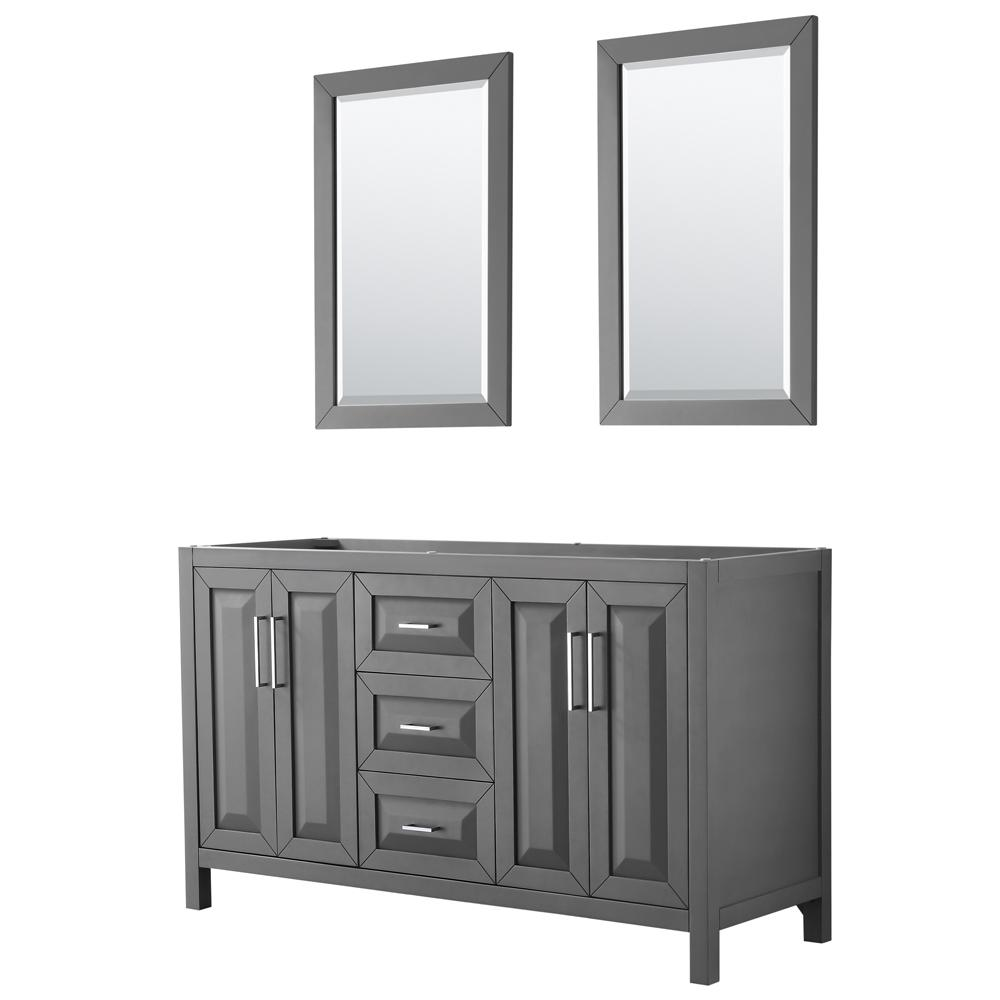 Wyndham Collection Daria 59 in. Double Bathroom Vanity Cabinet Only with 24 in. Mirrors in Dark Gray