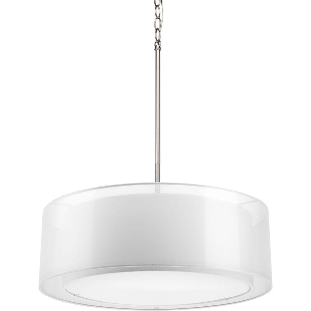 Progress Lighting Cuddle Collection 3 Light Brushed Nickel Pendant