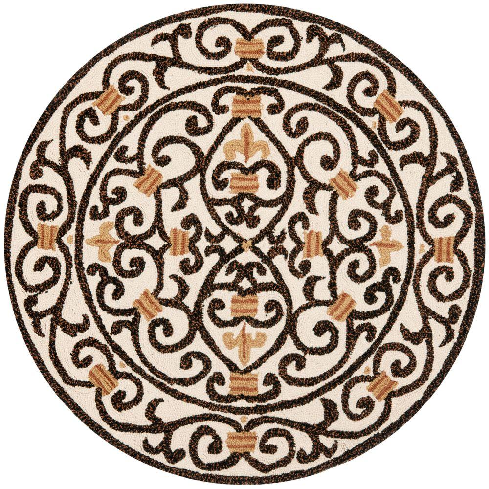 Chelsea Ivory/Dark Brown 3 ft. x 3 ft. Round Area Rug