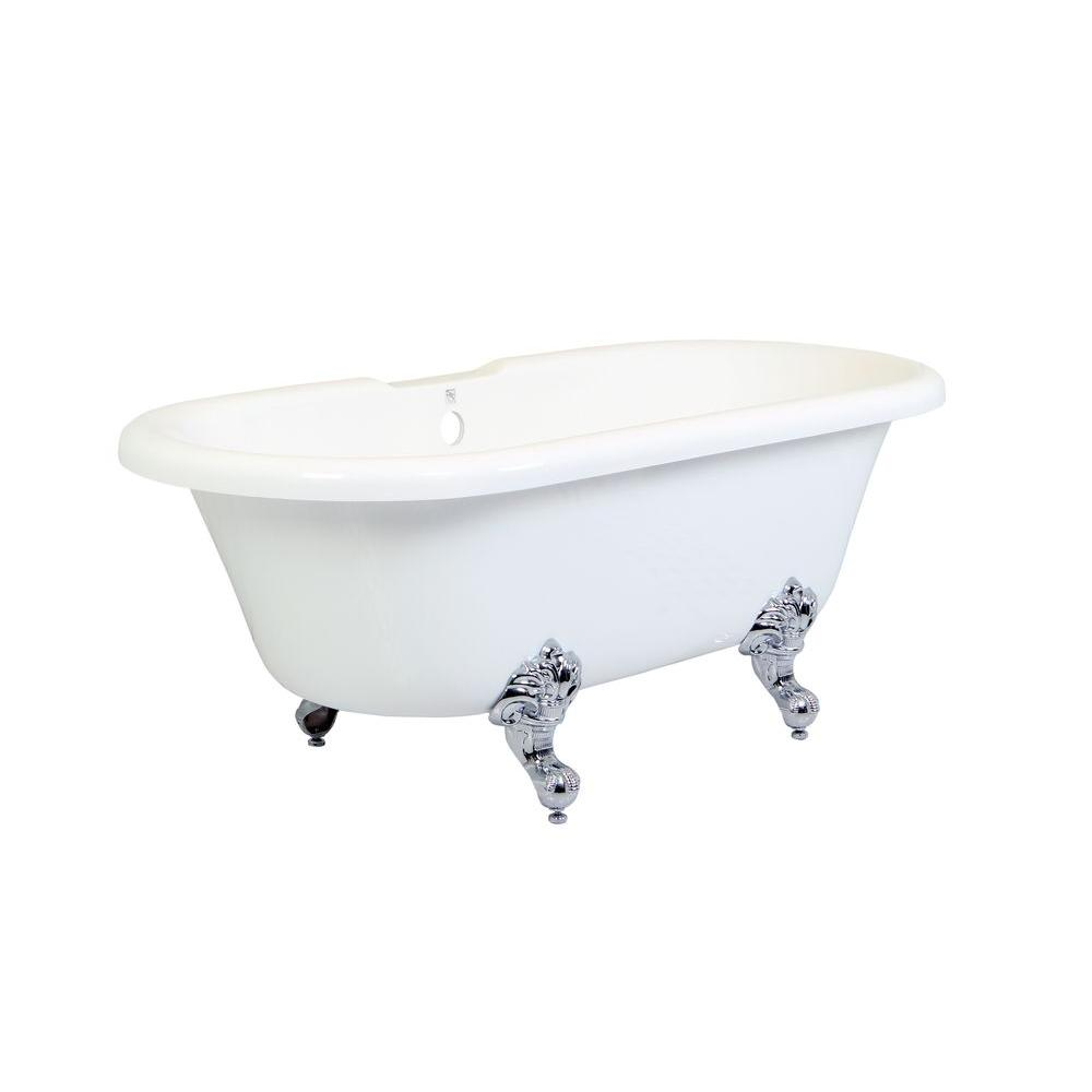 5.6 ft. Acrylic Polished Chrome Claw Foot Double Ended Tub in