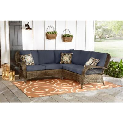 Beacon Park 3-Piece Brown Wicker Outdoor Patio Sectional Sofa with CushionGuard Sky Blue Cushions
