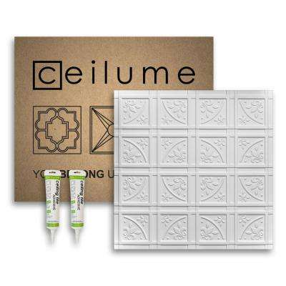 Lafayette White 2 ft. x 2 ft. Glue-up Ceiling Tile and Backsplash Kit