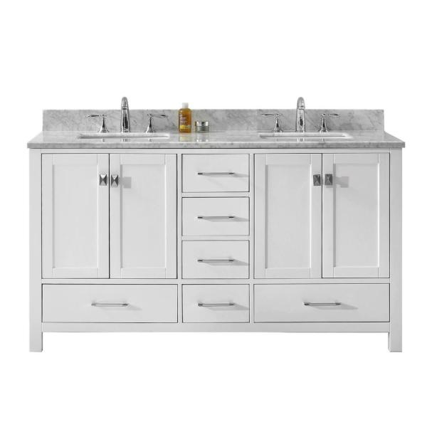 Caroline Avenue 60 in. W Bath Vanity in White with Marble Vanity Top in White with Square Basin