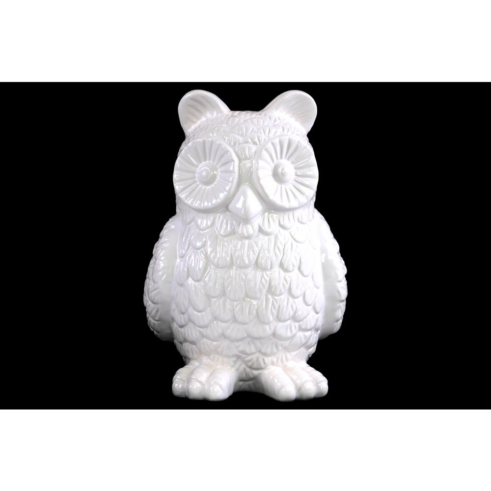 H Owl Decorative Figurine In White Gloss Finish 46918 The Home Depot
