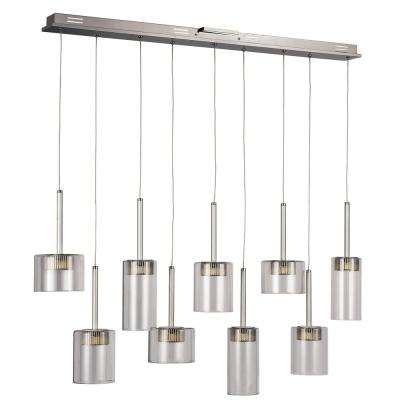 9-Light Polished Chrome LED Island Pendant with Clear Glass
