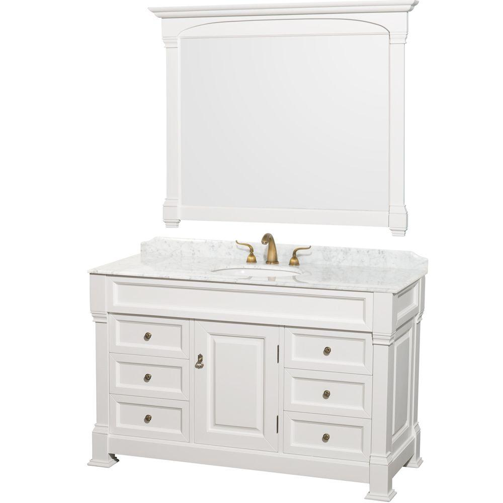 Wyndham Collection Andover 55 In. Vanity In White With Marble Vanity Top In  Carrara And