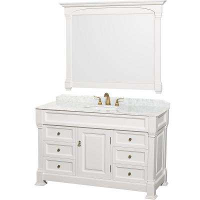 Andover 55 in. Vanity in White with Marble Vanity Top in Carrara and Mirror