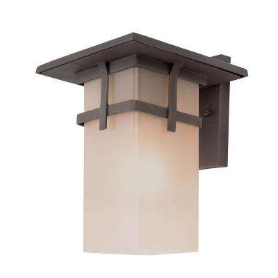 1-Light Antique Rust Outdoor Wall Mount Lantern with Tea Stain Glass