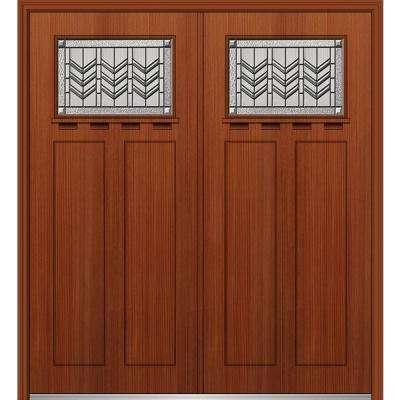64 in. x 80 in. Prairie Bevel Left-Hand Inswing 1/4-Lite Decorative Stained Fiberglass Fir Prehung Front Door with Shelf