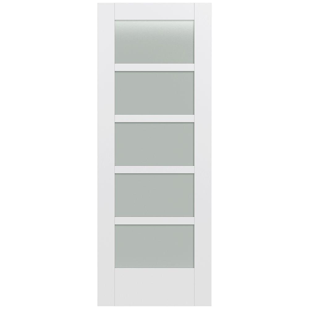 Jeld-Wen 32 in. x 80 in. Moda Primed PMT1055 Solid Core Wood Interior Door Slab w/Translucent Glass