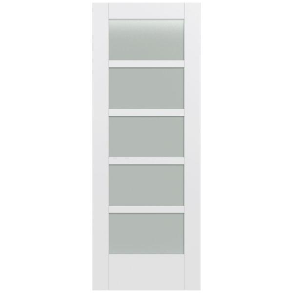 32 in. x 80 in. MODA Primed PMT1055 Solid Core Wood Interior Door Slab w/Translucent Glass