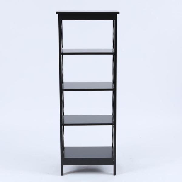 Black X-Sided Narrow 4-Tier Bookcase