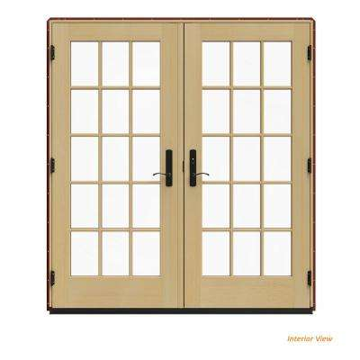 72 in. x 80 in. W-4500 Red Clad Wood Left-Hand 15 Lite French Patio Door w/Unfinished Interior