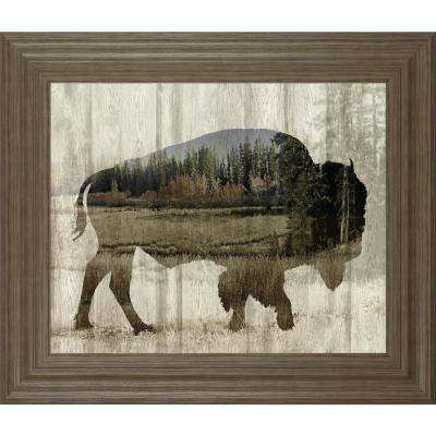 """22 in. x 26 in. """"Camouflage Animals-Bison"""" by Tania Bello Framed Printed Wall Art"""