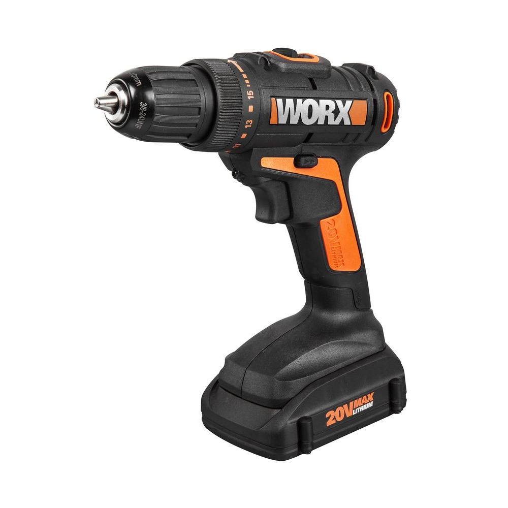 worx 20 volt lithium ion 3 8 in cordless drill driver wx169l the home depot. Black Bedroom Furniture Sets. Home Design Ideas