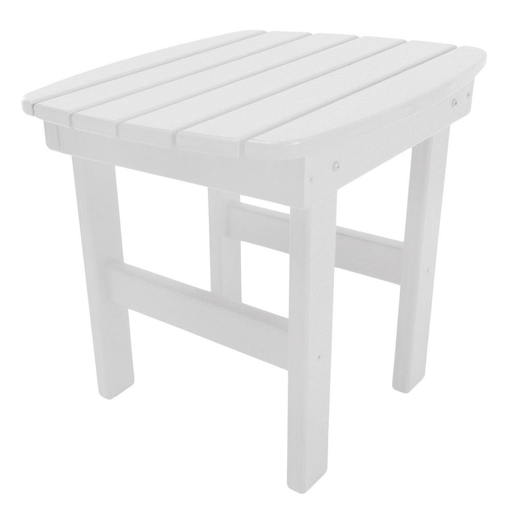 Essentials White Square Durawood Outdoor Side Table