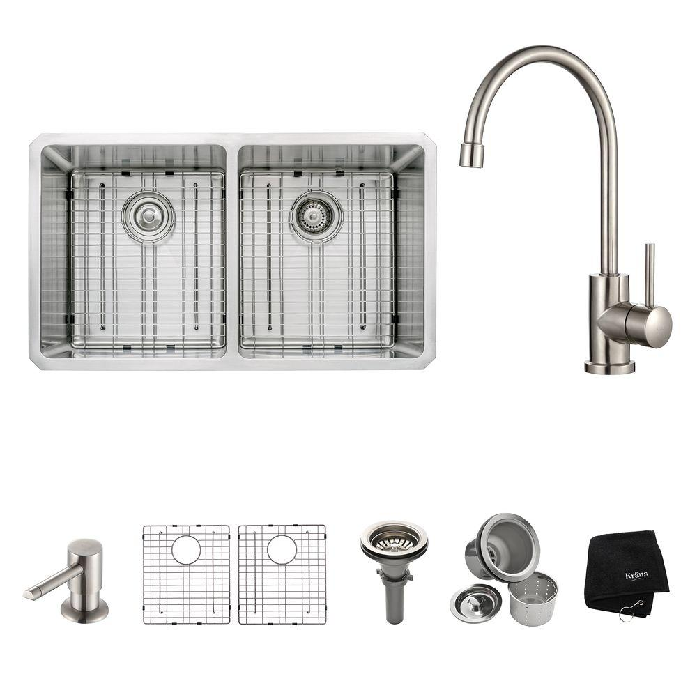KRAUS All-in-One Undermount Stainless Steel 33 in. Double Basin Kitchen Sink with Faucet and Accessories in Stainless Steel
