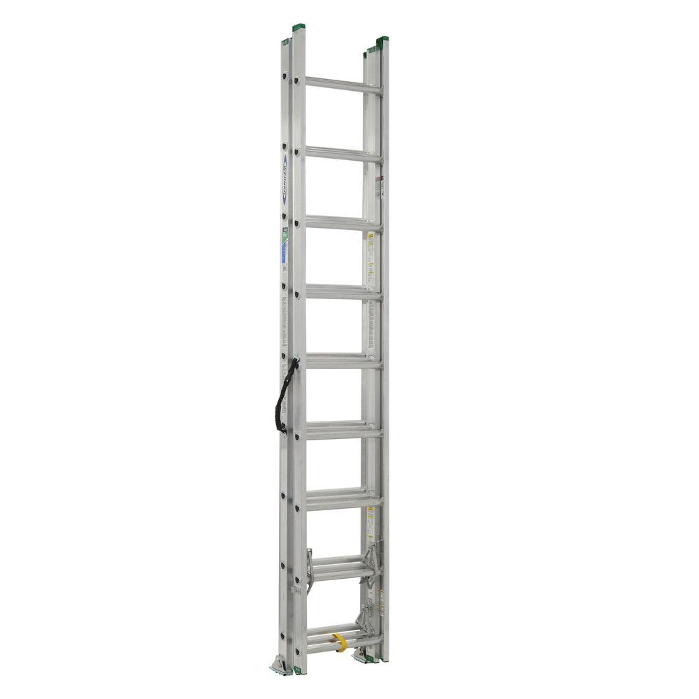 Werner 24 ft. Aluminum 3 Section Compact Extension Ladder with 225 lb. Load Capacity Type II Duty Rating