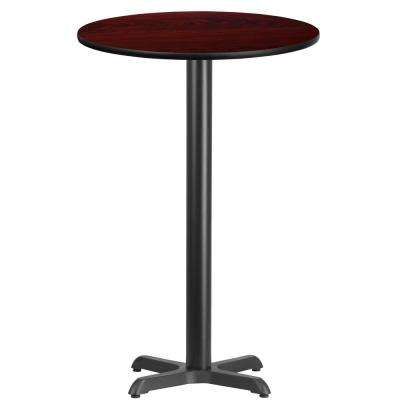 24 in. Round Black and Mahogany Laminate Table Top with 22 in. x 22 in. Bar Height Table Base