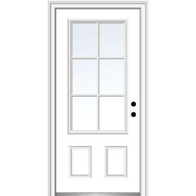 36 in. x 80 in. Simulated Divided Lites Left-Hand 3/4-Lite Clear 2-Panel Primed Fiberglass Smooth Prehung Front Door