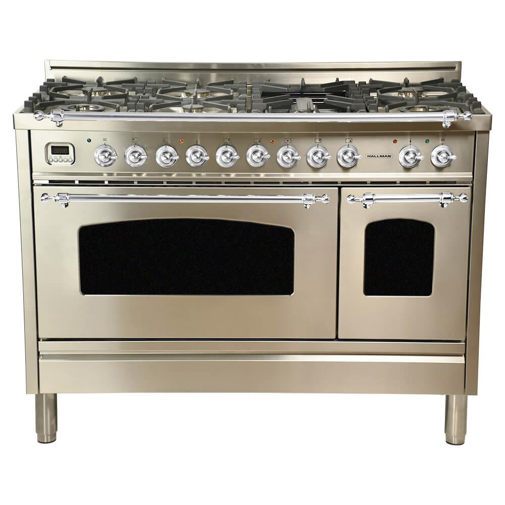 Hallman 48 in 5.0 cu.ft. Double Oven Dual Fuel Italian Range w/True Convection, 7 Burners, Griddle, Chrome Trim/Stainless Steel