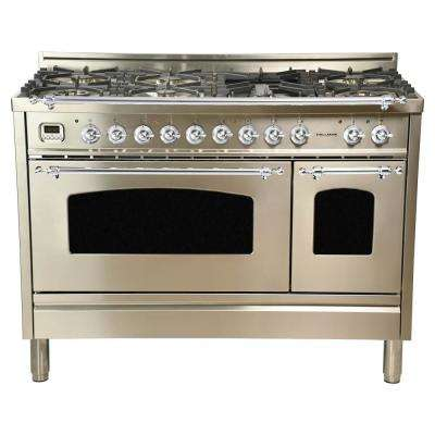 48 in 5.0 cu.ft. Double Oven Dual Fuel Italian Range w/True Convection, 7 Burners, Griddle, Chrome Trim/Stainless Steel