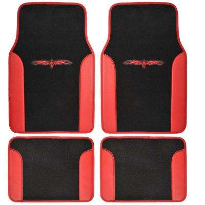 Tattoo Design MT-201 Red Carpet With PU Leather 4-Piece Car Floor Mats