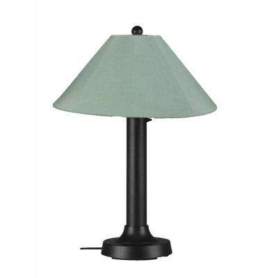 Catalina 34 in. Black Outdoor Table Lamp with Spa Shade