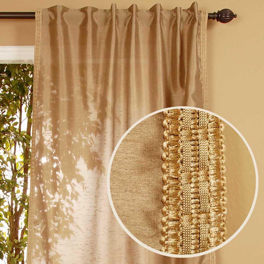 Home Decorators Collection Semi-Opaque Polysilk Beige Back Tab Curtain