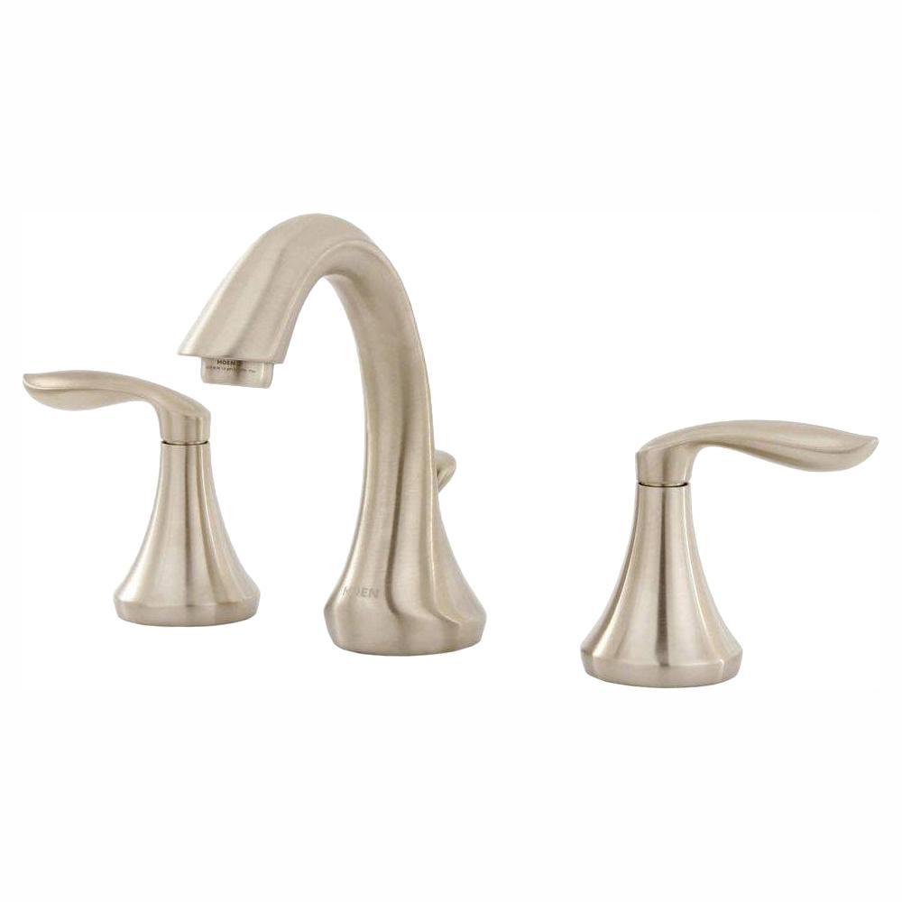 Eva 8 in. Widespread 2-Handle High-Arc Bathroom Faucet Trim Kit in Brushed Nickel (Valve Not Included)