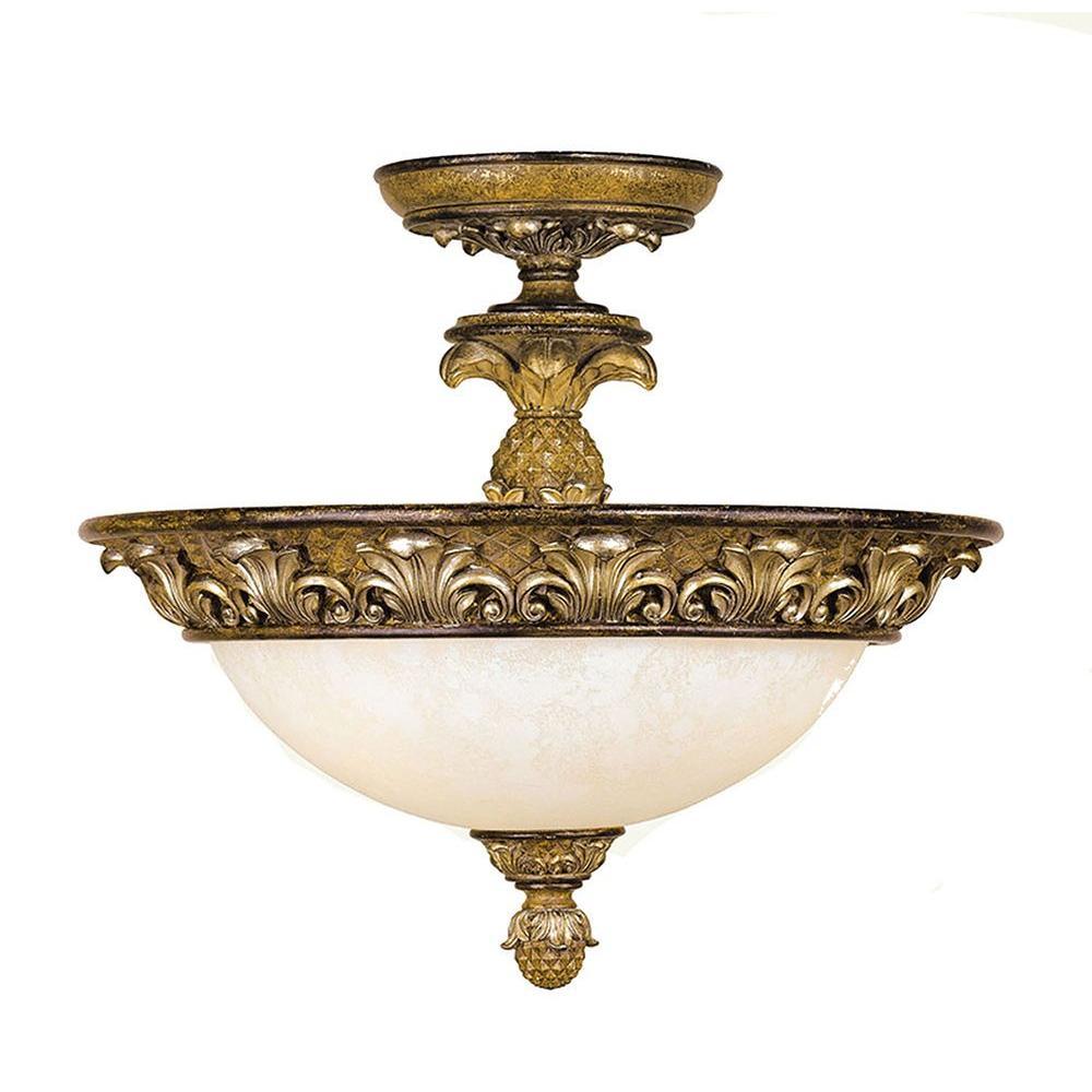 Providence 3-Light Venetian Bronze Incandescent Semi-Flush