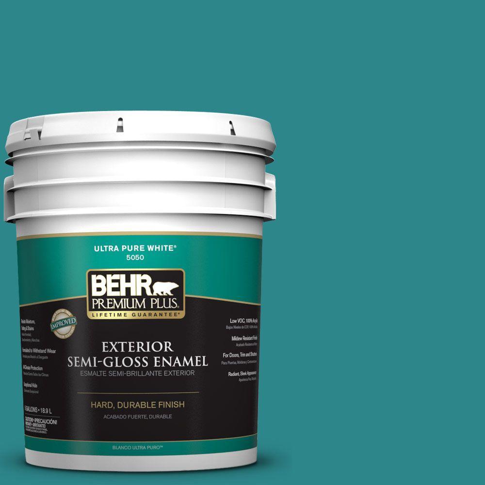 5-gal. #M460-6 Thai Teal Semi-Gloss Enamel Exterior Paint